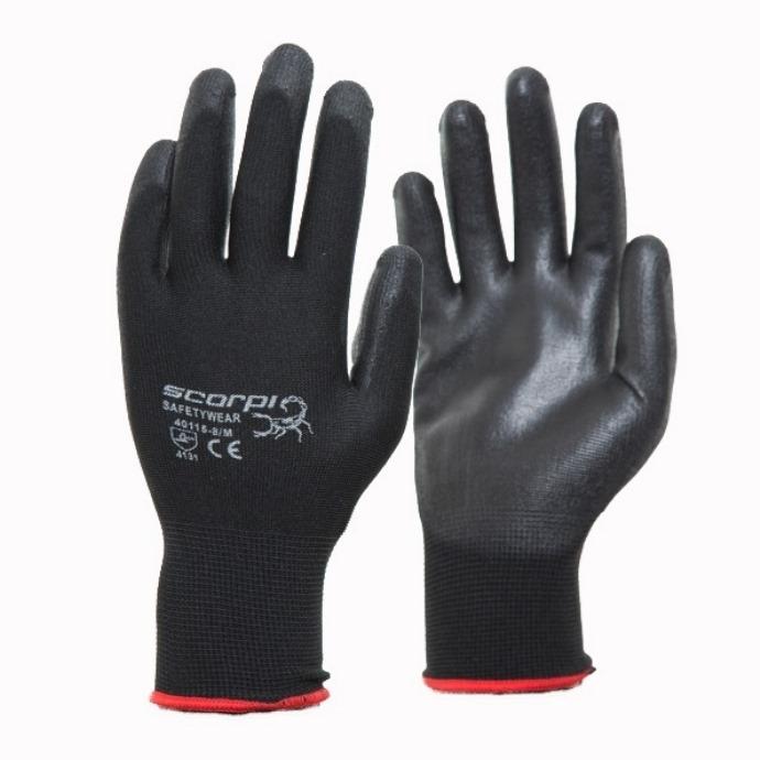 Scorpi PU Coated Handling Gloves Blk